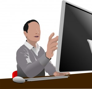 2255003 handsome man sitting in front of computer vector illustr